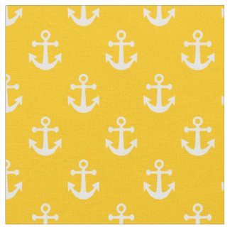 Yellow and White Nautical Anchors Pattern Fabric
