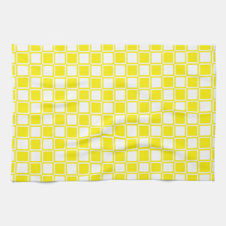 Yellow and White Outlined Squares Tea Towel