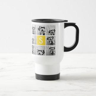 Yellow and White Photo Collage Custom Monogram Stainless Steel Travel Mug