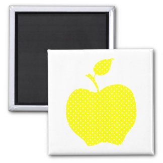 Yellow and White Polka Dot Apple Magnet