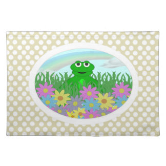 Yellow And White Polka-dot : Froggy Placemat Cloth Place Mat