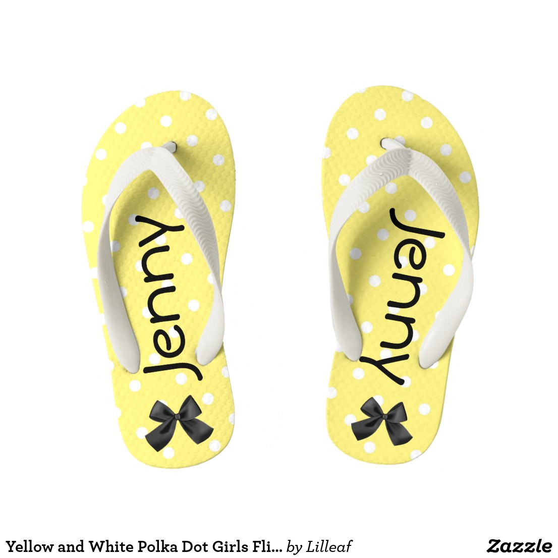 Yellow and White Polka Dot Girls Flip Flops