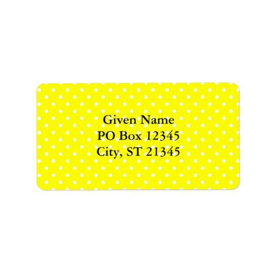 Yellow and White Polka Dot Pattern Address Label