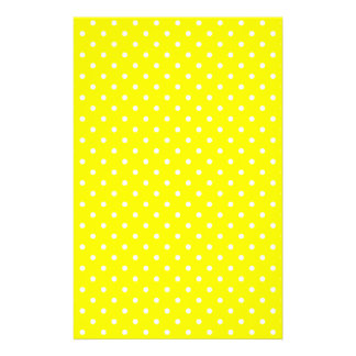 Yellow and White Polka Dot Pattern Stationery