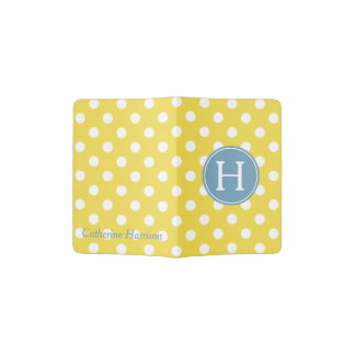 Yellow and White Polka Dot With Blue Monogram Passport Holder