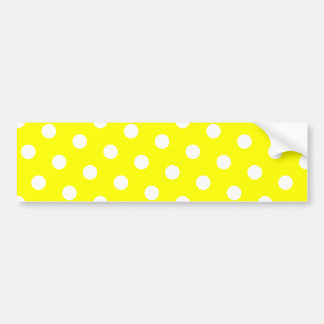 Yellow and White Polka Dots Bumper Stickers