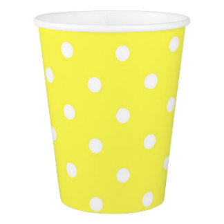 Yellow and white polka dots cute glamour paper cup