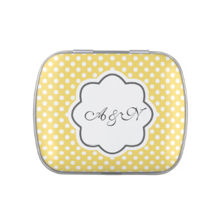 Yellow and White Polka Dots Monogram Tin Jelly Belly Candy Tins