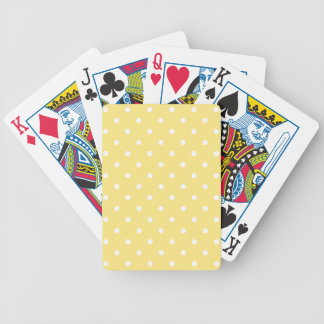 Yellow and White Polka Dots Pattern. Bicycle Playing Cards