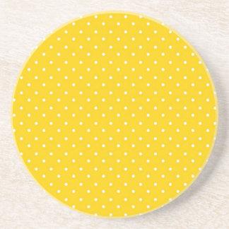 Yellow and White Polka Dots Pattern Coaster