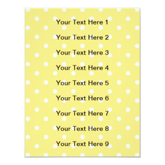 Yellow and White Polka Dots Pattern. 11 Cm X 14 Cm Invitation Card