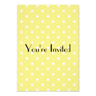 Yellow and White Polka Dots Pattern. 13 Cm X 18 Cm Invitation Card