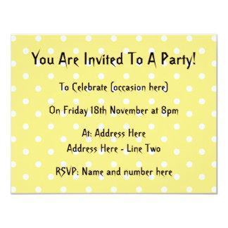 "Yellow and White Polka Dots Pattern. 4.25"" X 5.5"" Invitation Card"