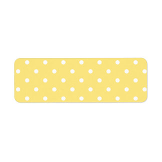 Yellow and White Polka Dots Pattern. Return Address Label