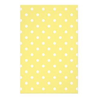 Yellow and White Polka Dots Pattern. Stationery