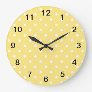 Yellow and White Polka Dots Pattern. Wall Clocks