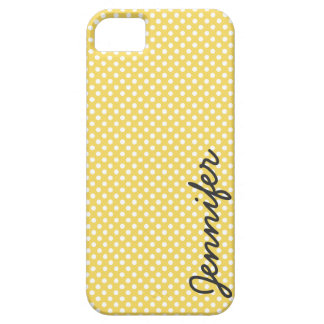 Yellow and White Polka Dots Personalised Barely There iPhone 5 Case