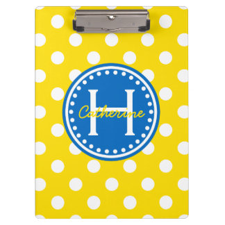 Yellow and White Polka Dots With Blue Monogram Clipboard