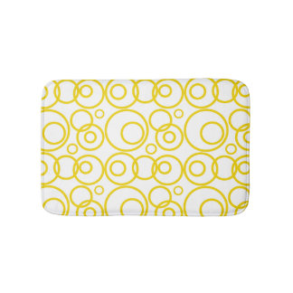 Yellow And White Rings Pattern Bath Mat