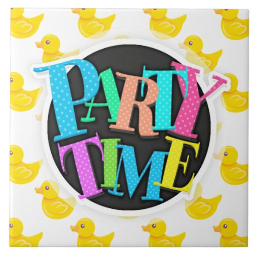 Yellow and White Rubber Duck, Ducky Ceramic Tile