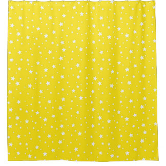 Yellow and White Stars Celestial Sky Shower Curtain