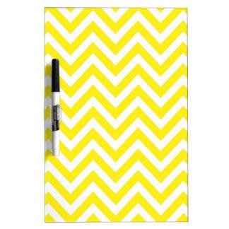 Yellow and White Stripe Zigzag Pattern Dry Erase Board