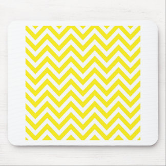 Yellow and White Stripe Zigzag Pattern Mouse Pad