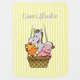 Yellow and White Striped Cartoon Farm Animals Baby Blanket