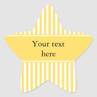 Yellow and White Stripes Pattern Star Sticker