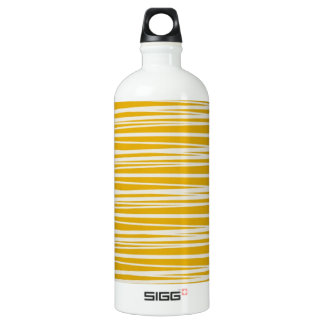 Yellow and White Stripes Pattern Water Bottle