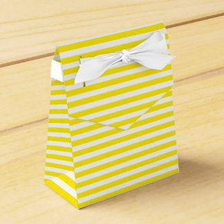 Yellow And White Stripes Wedding Party Favour Box