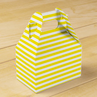 Yellow And White Stripes Wedding Party Favour Box