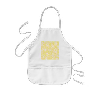 Yellow and White Swirls and Dots Aprons