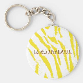 YELLOW AND WHITE TIGER PRINT KEYCHAIN