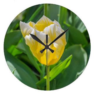 Yellow and white tulip wall clock