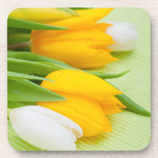 Yellow and white tulips drink coasters