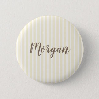 Yellow and White Vertical Stripes 6 Cm Round Badge