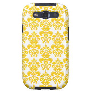 Yellow and White Vintage Damask Pattern 2 Samsung Galaxy SIII Cases