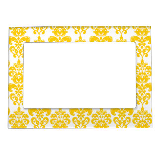 Yellow and White Vintage Damask Pattern 2 Magnetic Frame