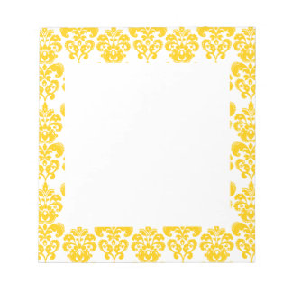Yellow and White Vintage Damask Pattern 2 Notepad