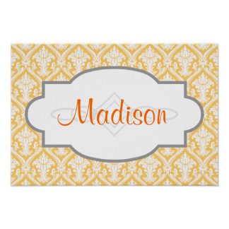 Yellow and White Vintage Damask Pattern Poster