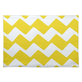 Yellow and White wavy Chevrons Placemat
