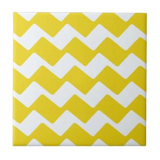 Yellow and White wavy Chevrons Tile