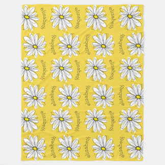 Yellow and White Whimsical Daisy with Custom Text Fleece Blanket