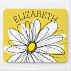 Yellow and White Whimsical Daisy with Custom Text Mouse Mat