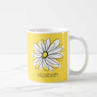 Yellow and White Whimsical Daisy with Custom Text Basic White Mug