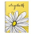 Yellow and White Whimsical Daisy with Custom Text Notebook
