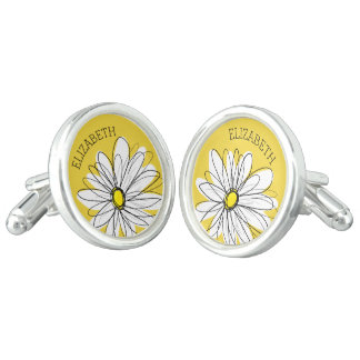 Yellow and White Whimsical Daisy with Custom Text Cufflinks