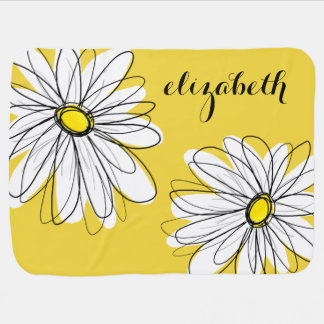 Yellow and White Whimsical Daisy with Custom Text Pram blanket