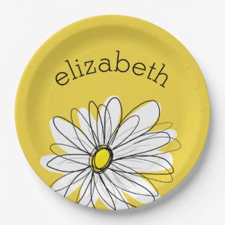 Yellow and White Whimsical Daisy with Custom Text 9 Inch Paper Plate